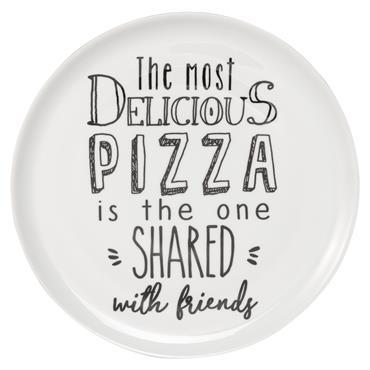 Assiette à pizza en porcelaine blanche imprimée
