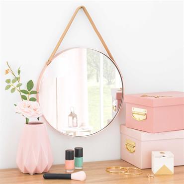 Miroir rond en métal cuivré D