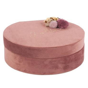 Boîte à bijoux ronde rose et couronne dorée