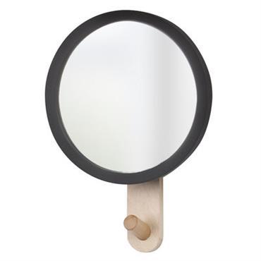 Miroir Hub / Patère - Ø 15 cm - Umbra Noir