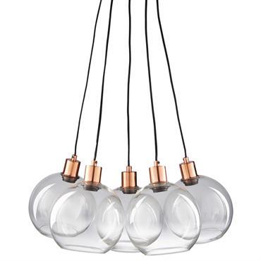 Suspension 5 ampoules en verre et métal cuivré CELIA