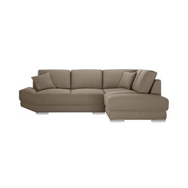 Canapé d'angle droit 5 places toucher lin noisette
