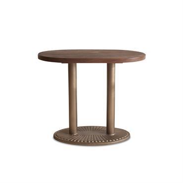 Console ovale en bois marron