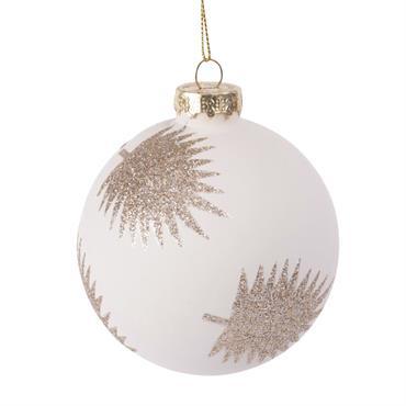 Boule de Noël en verre teinté blanc motifs palmiers à paillettes dorées