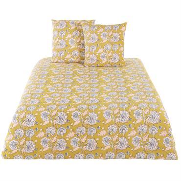 Parure de lit en coton jaune moutarde imprimé floral 220x240