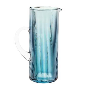 Carafe en verre strié teinté bleu
