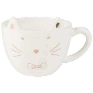 Tasse chat en faïence taupe