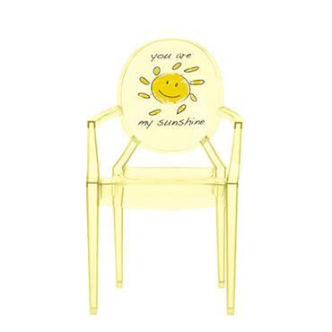Fauteuil enfant Lou Lou Ghost / Dossier décoré - Kartell jaune