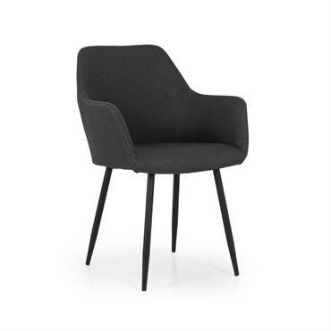 Chaise design en tissu avec accoudoirs LINIO