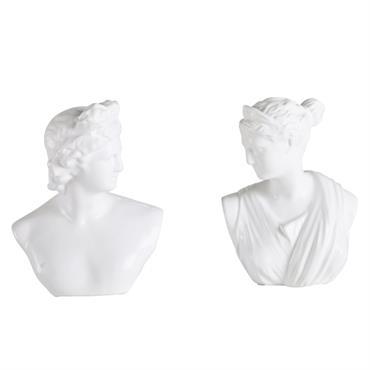 2 statuettes bustes en céramique blanche H23
