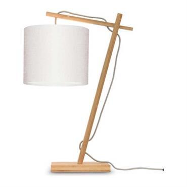 Lampe de table bambou/lin blanc H46cm