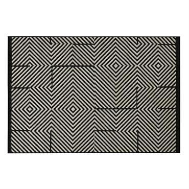 Tapis d'extérieur en polypropylène noir et beige 160x230