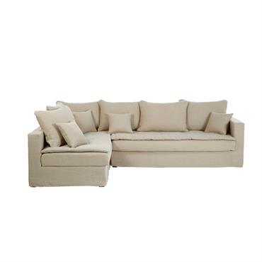 Canapé d'angle gauche 5 places en lin beige ficelle Célestin
