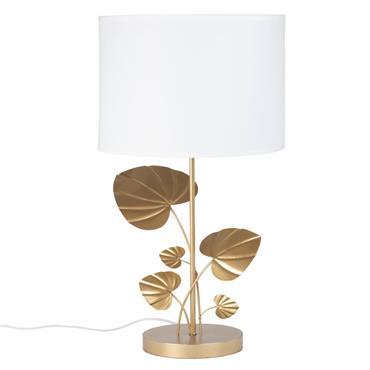 Lampe feuillage en métal doré et abat-jour blanc