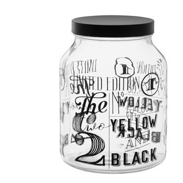 Bocal en verre imprimé noir
