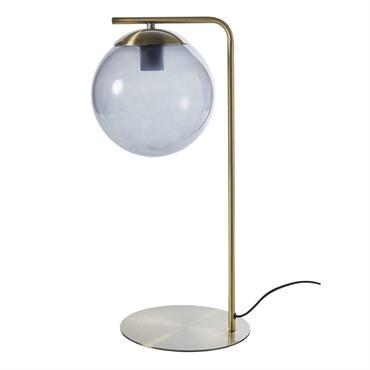 Lampe en métal doré globe en verre fumé