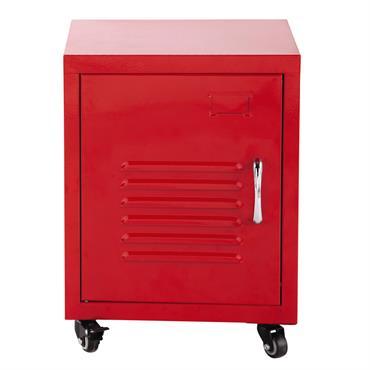Table de chevet à roulettes en métal rouge L 37 cm Loft