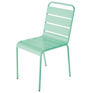Chaise de jardin en métal bleu turquoise Batignolles