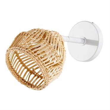 Applique en fibre naturelle et métal blanc