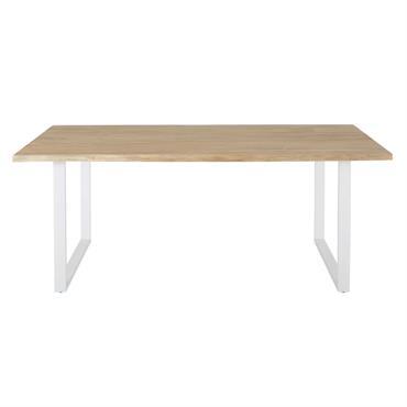 Table de jardin en acacia massif et acier blanc 6/8 personnes L190 Pianosa