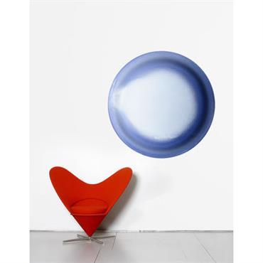 Papier peint Ellipse / Ø 93 cm - Domestic bleu en papier