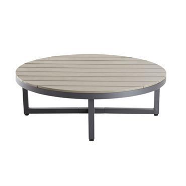 Table basse de jardin ronde en composite et aluminium Escale