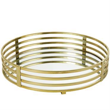 Plateau avec miroir et métal doré