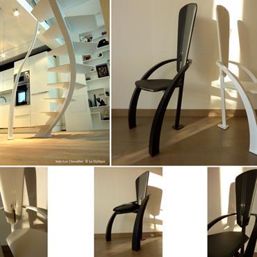 Dans cette collection, le designer allie courbes et formes triangulaires dans l'exercice de style qui est l'escalier et le mobilier. ... Domozoom