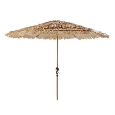 Parasol en métal imitation bois avec franges coloris naturel Paillotte