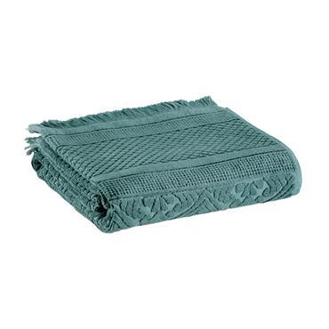 Drap de bain uni  en coton prusse 100 x 180
