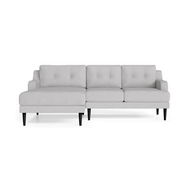 Canapé d'angle gauche 4 places toucher lin gris clair