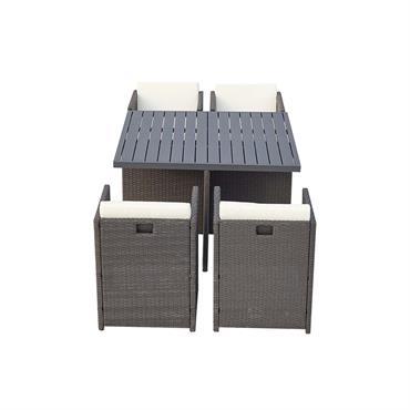 Table et chaise 4 places encastrables alu résine noir/blanc