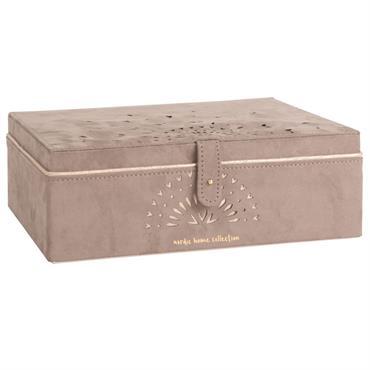 Boîte à bijoux effet velours marron à motifs ajourés