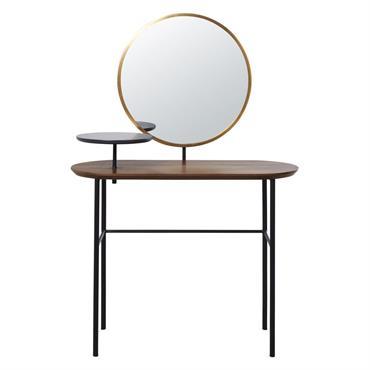 Coiffeuse avec miroir imitation noyer et métal noir Spiga