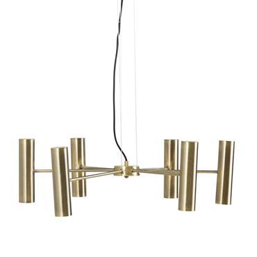Suspension 6 bras en métal doré
