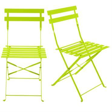 2 chaises pliantes de jardin en métal anis Confetti