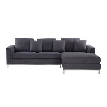 Canapé angle à gauche 4 places en tissu gris foncé