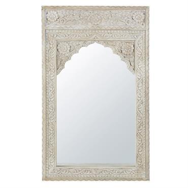 Miroir en manguier sculpté blanchi 80x130