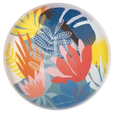 Plateau rond en métal imprimé floral multicolore