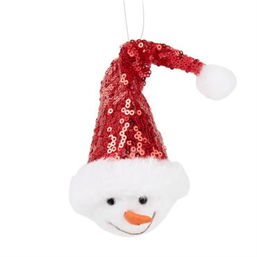 Suspension de Noël bonhomme de neige bonnet rouge