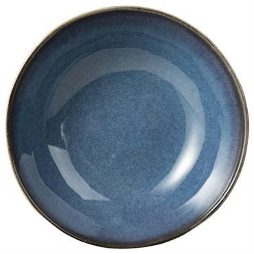 Assiette creuse en faïence bleue