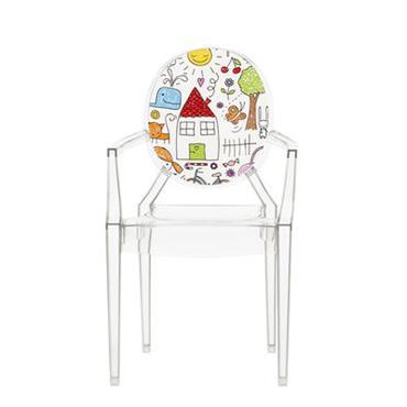 Fauteuil enfant Lou Lou Ghost / Dossier décoré - Kartell multicolore