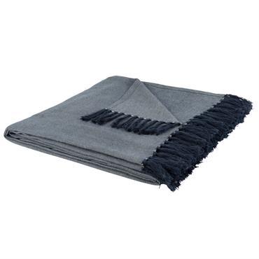 Plaid en coton gris beige à franges 160x210