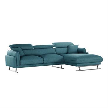 Canapé d'angle droit 5 places toucher lin turquoise
