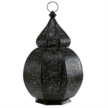 Lanterne orientale en métal ciselé noir SINBAD