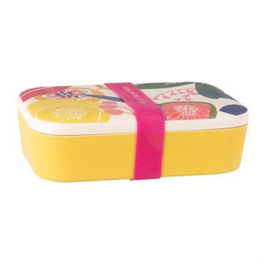 Bento jaune et couvercle imprimé multicolore