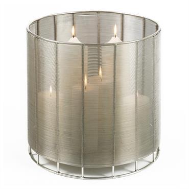 Dimensions : 28x30cm  Lanterne design Lambert en métal patiné.  Domozoom