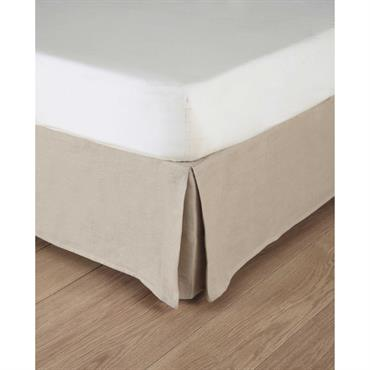 Cache-sommier 180 x 200 cm en lin lavé beige