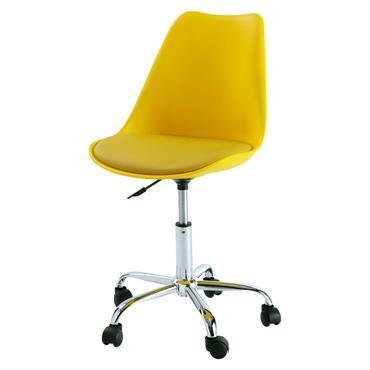 Chaise de bureau à roulettes jaune Bristol