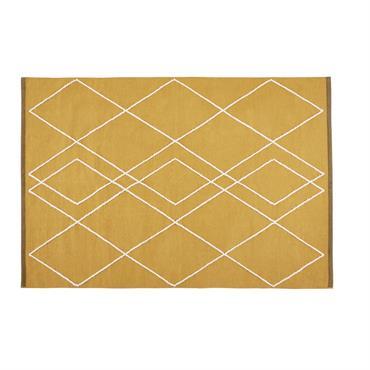 Tapis en coton et laine jaune moutarde motifs brodés 140x200